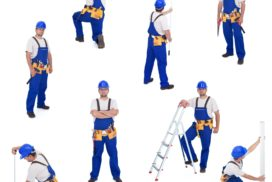 9986760 - handyman or worker in different working positions - isolated, collage